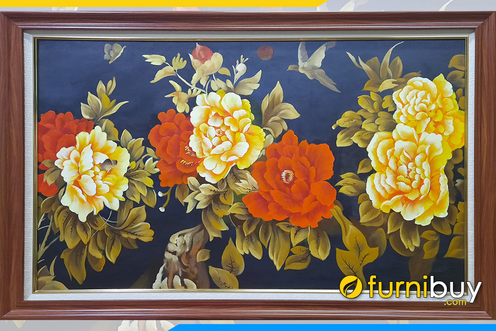 Mau tranh phong thuy son dau hoa mau don 8 bong gam vang do dep