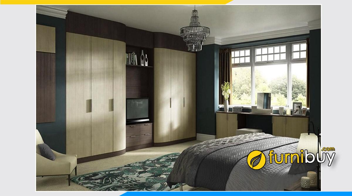 Hình ảnh Mẫu tủ quần áo kết hợp kệ tivi trong phòng ngủ