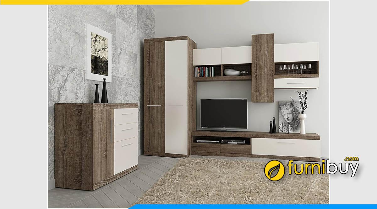 Hình ảnh tủ quần áo kết hợp tủ tivi phòng khách đẹp 2021