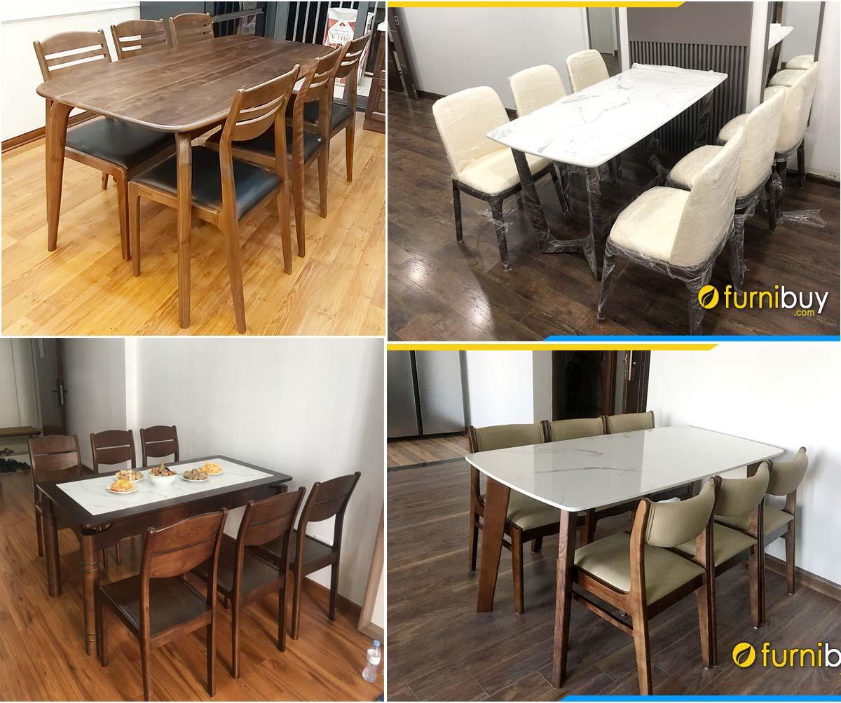 Báo giá bàn ăn gỗ sồi nga 6 ghế mặt đá cao cấp