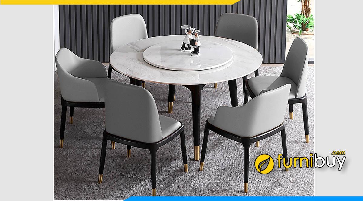 Hình ảnh Bộ bàn ăn 6 ghế mặt đá tròn xoay vân mây đẹp