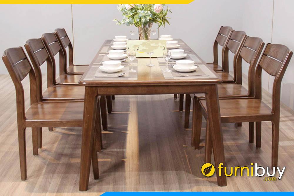 Hình ảnh Bộ bàn ăn 8 ghế gỗ sồi Nga màu óc chó đẹp nhất