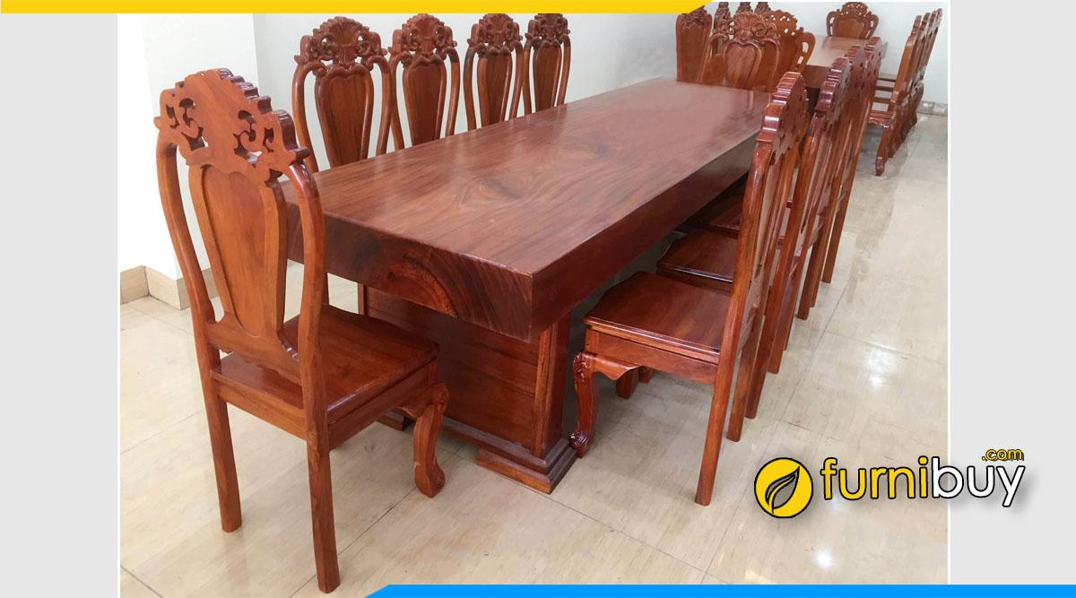 Ảnh Bộ bàn ăn gỗ Lim Nam Phi nguyên khối sang trọng