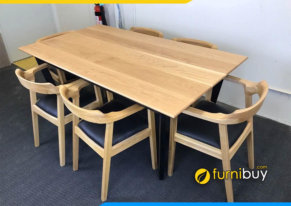 Ảnh bàn ăn gỗ sồi mỹ 6 ghế phong cách Bắc Âu