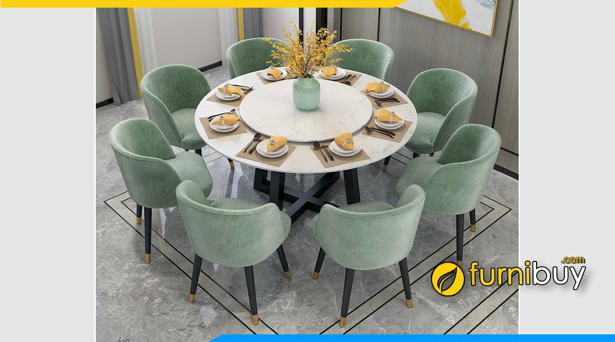 Hình ảnh Bộ bàn ăn mặt đá 8 ghế tròn xoay sang trọng