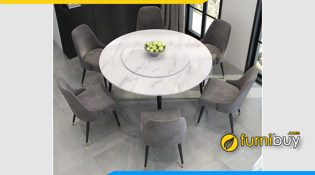 Hình ảnh Bộ bàn ăn mặt đá tròn mâm xoay hiện đại đẹp
