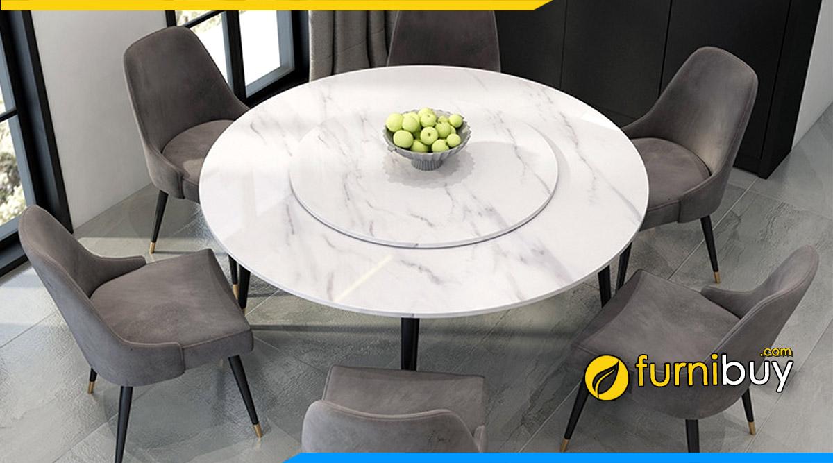 Hình ảnh Bộ bàn ăn mặt đá tròn xoay mẫu đẹp, giá bán