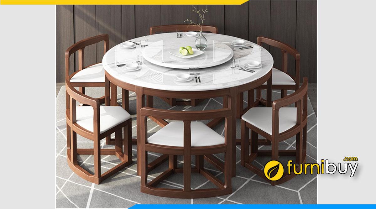 Hình ảnh Bộ bàn ăn mặt đá tròn xoay xếp gọn tiết kiệm diện tích