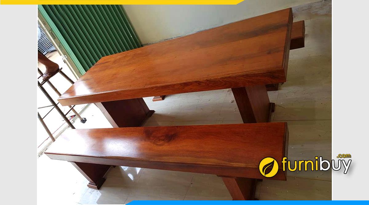 Ảnh Bộ bàn ghế ăn gỗ Lim xẹt nguyên tấm đẹp