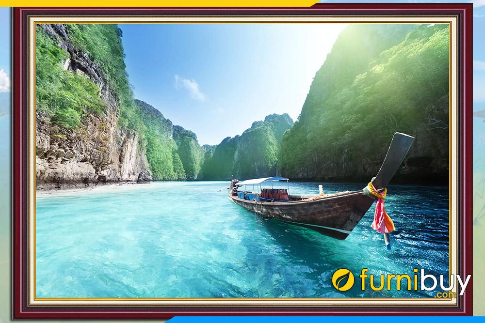 Tranh phong canh dep song nuoc thai lan noi tieng
