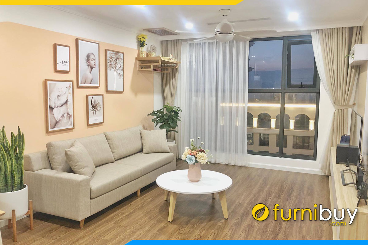 sofa vang phong khach chung cu hien dai