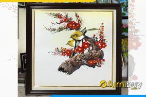 Tranh chim en hoa dao don xuan kho vua nho