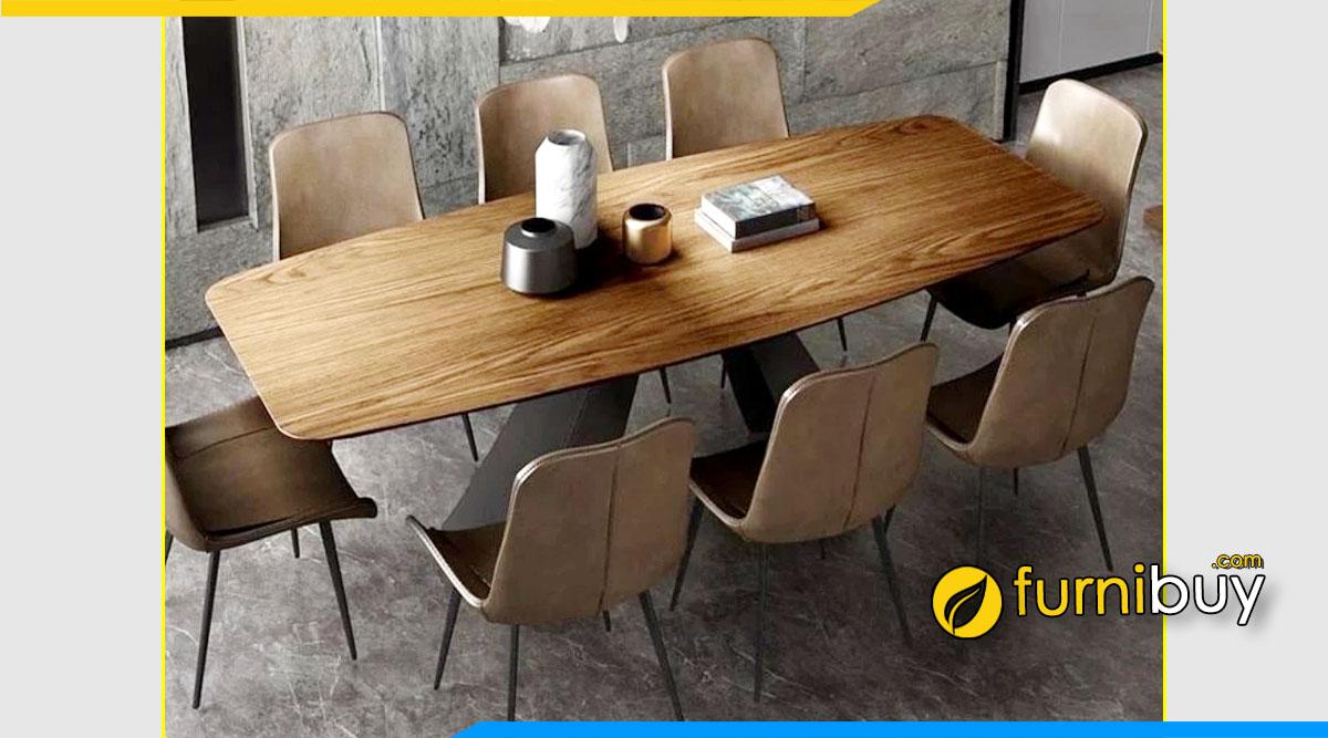 ảnh bộ bàn ăn 8 ghế gỗ óc chó chân sắt phong cách retro