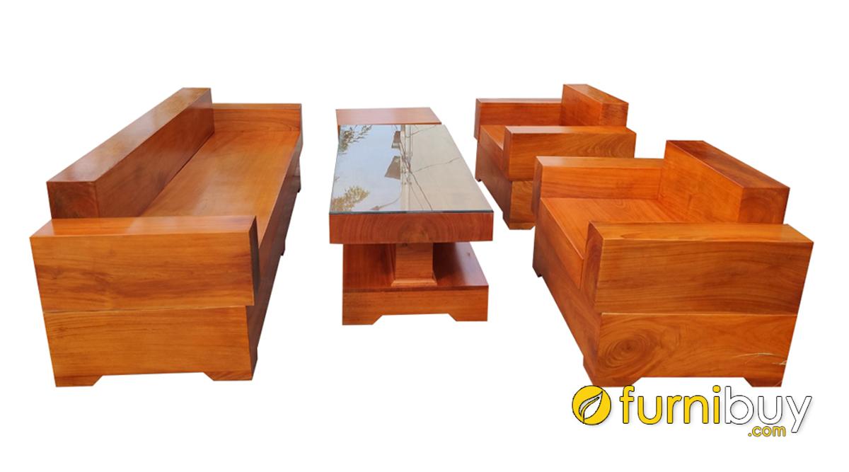 bàn ghế sofa gỗ chữ H nguyên khối sang trọng