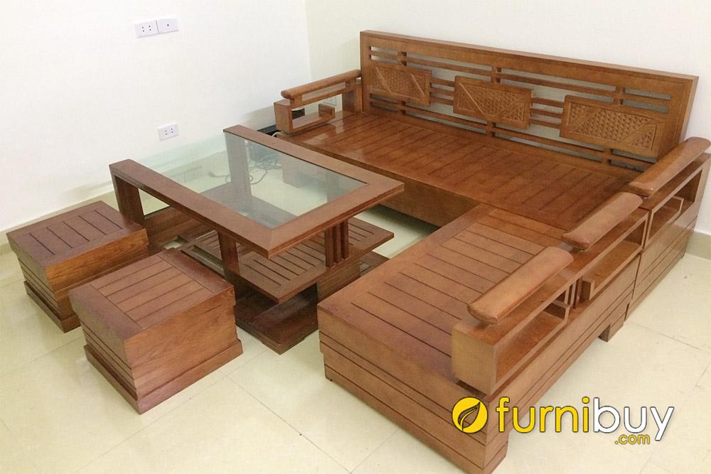 bàn ghế sofa gỗ sồi màu nâu cánh gián đơn giản