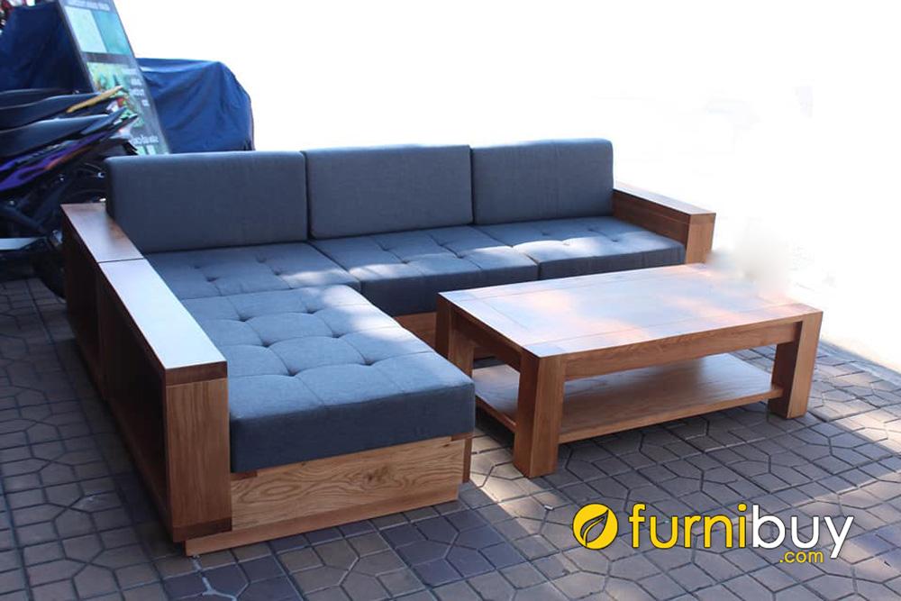 bàn ghế sofa góc gỗ sồi mỹ hiện đại