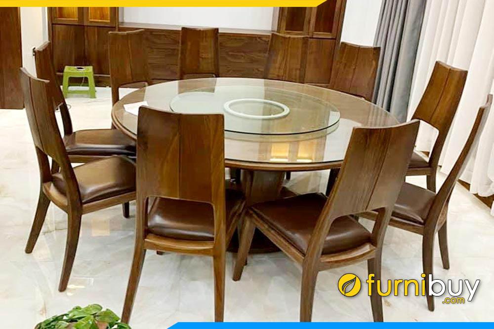 Ảnh bộ bàn ăn 10 ghế gỗ óc chó hình tròn xoay đẹp mặt kính