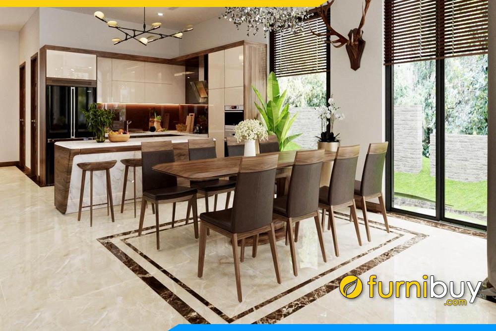 ảnh bộ bàn ăn 8 ghế gỗ óc chó đẹp hottrend 2021