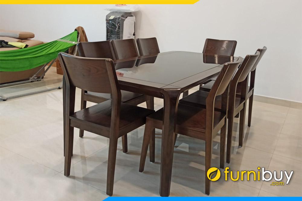 ảnh bộ bàn ăn 8 ghế gỗ óc chó giá rẻ sản xuất tại VN