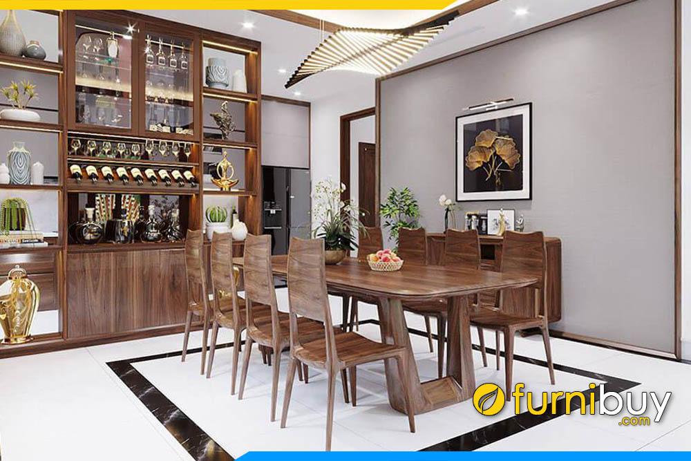 ảnh bộ bàn ăn 8 ghế gỗ óc chó hiện đại phong cách Châu Âu