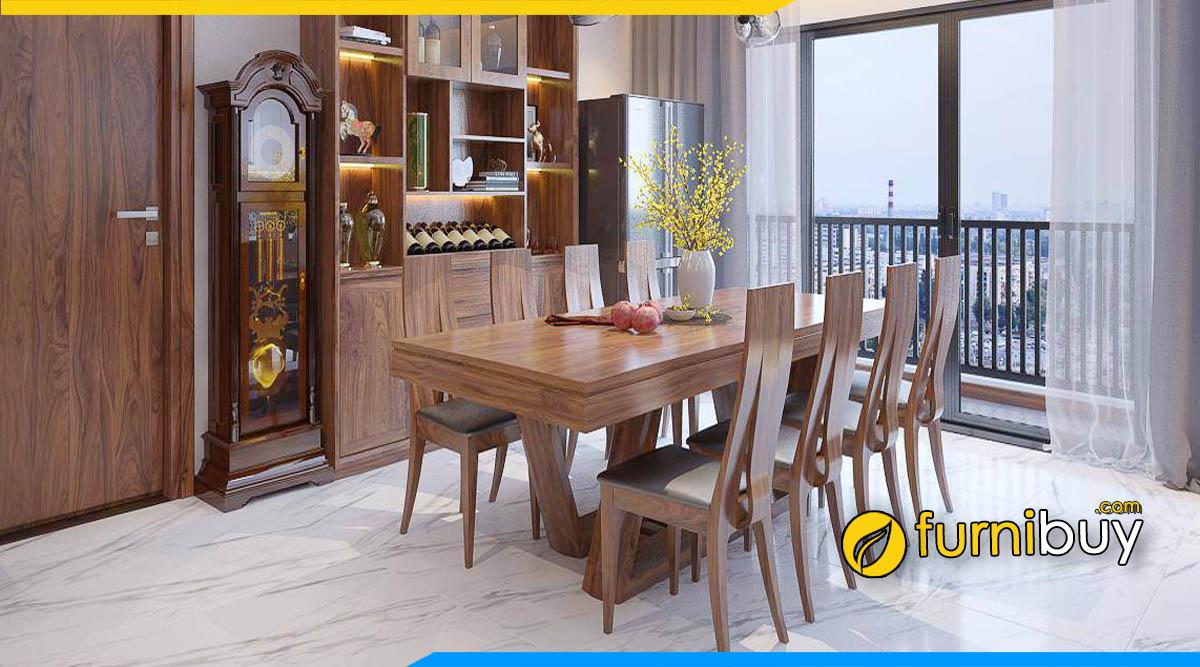 ảnh bộ bàn ăn 8 ghế gỗ óc chó nguyên tấm đẹp cao cấp