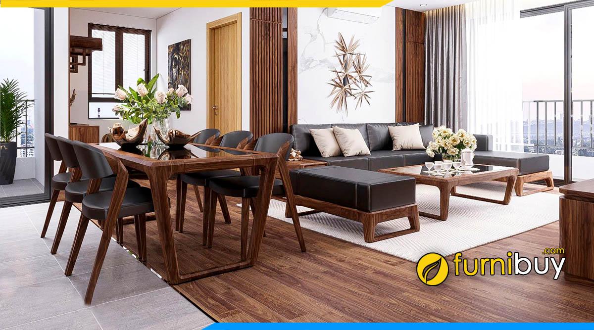 ảnh bộ bàn ăn gỗ óc chó đẹp đặt liền phòng khách đẹp