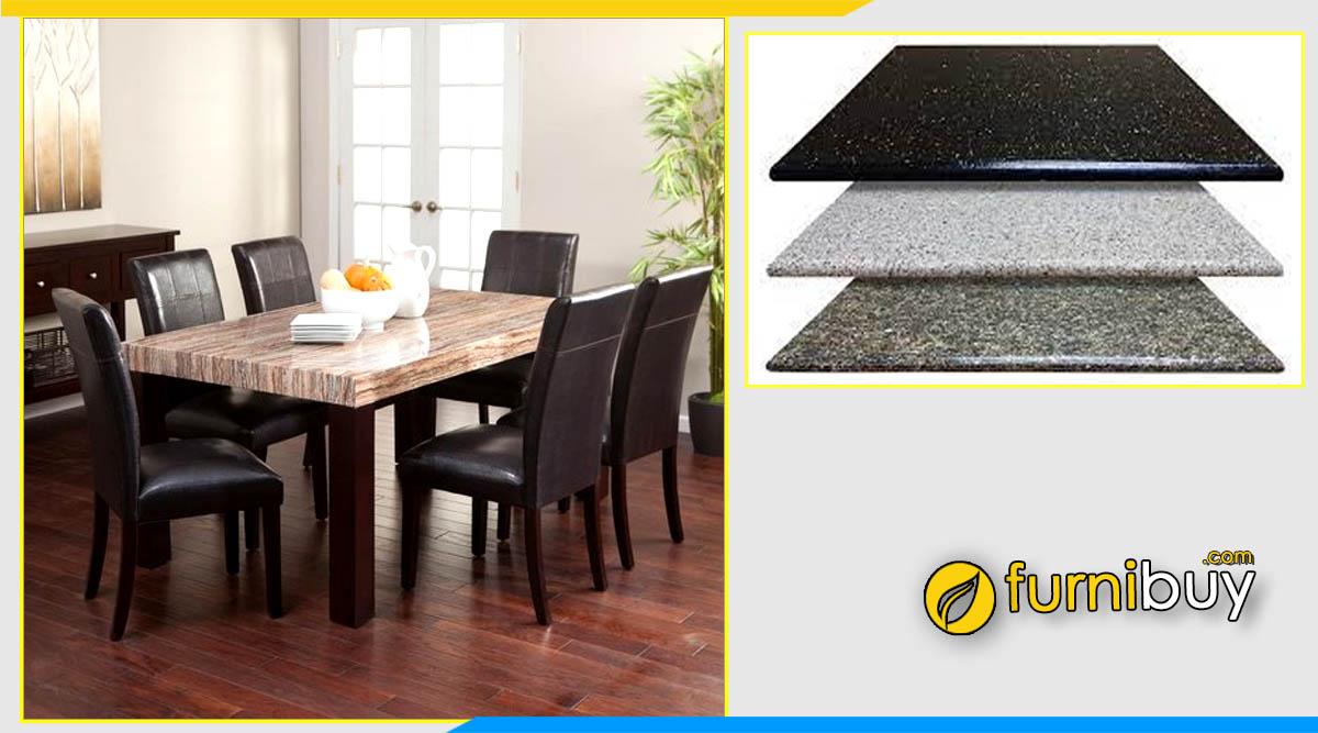 ảnh Bộ bàn ăn gỗ óc chó mặt đá Granite nhân tạo sang trọng