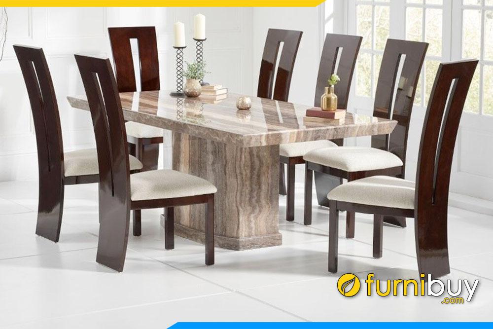 ảnh bộ bàn ăn gỗ óc chó mặt đá marble cẩm thạch tự nhiên