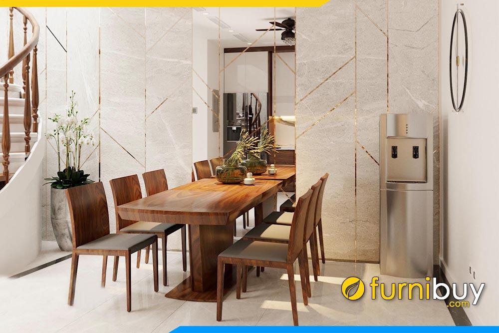 ảnh bộ bàn ăn gỗ óc chó nguyên tấm 6 ghế đẹp 1m6