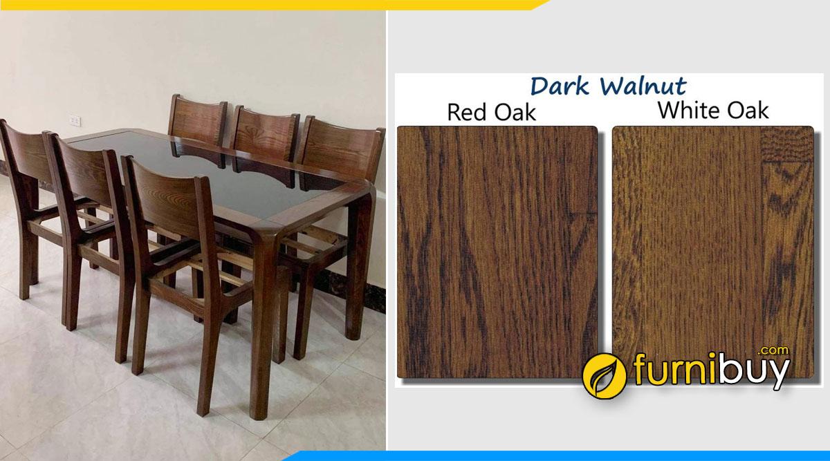 bộ bàn ăn gỗ sồi màu óc chó đẹp được lựa chọn nhiều