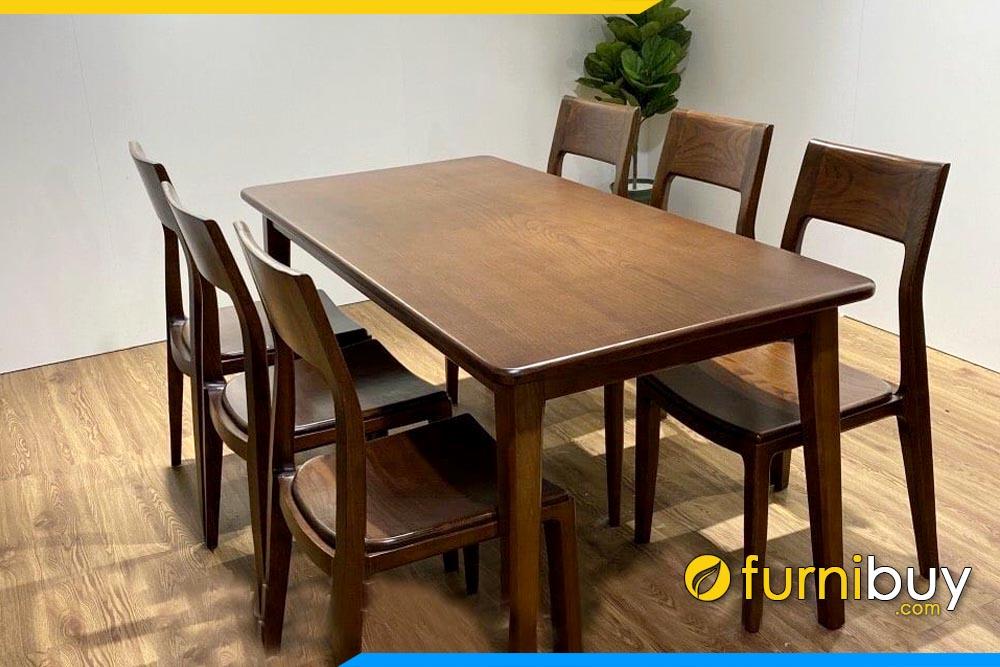 ảnh bộ bàn ăn gỗ sồi nga màu óc chó đẹp