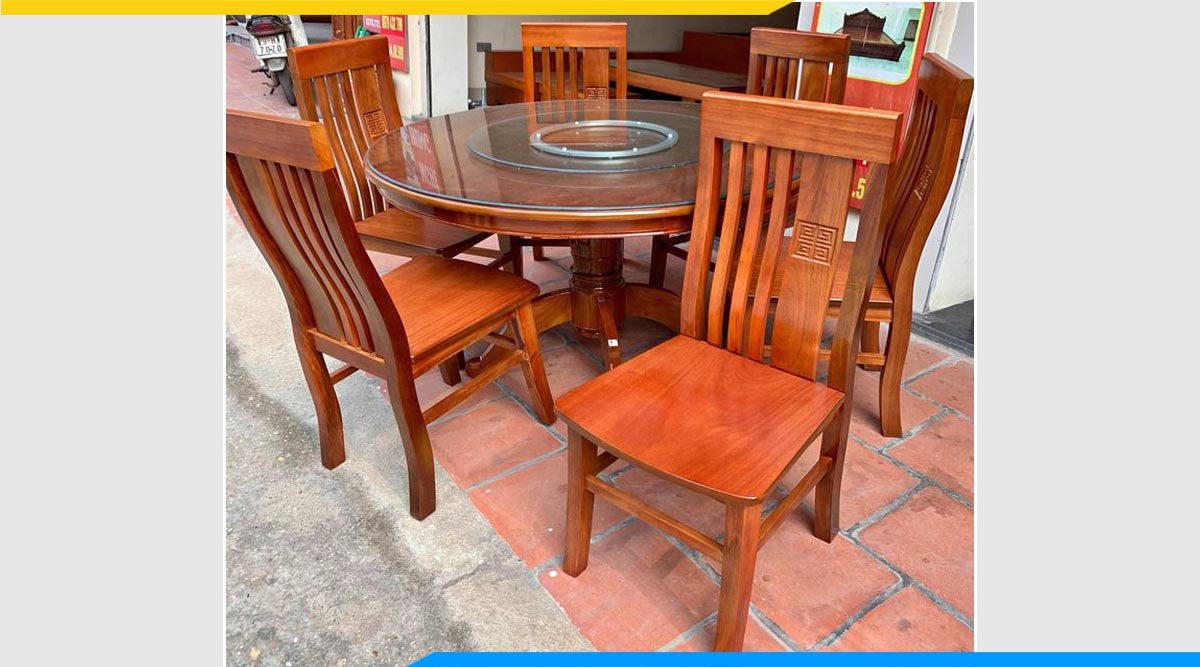 Hình ảnh Bộ bàn ăn 6 ghế xoan đào Hải Phòng đẹp