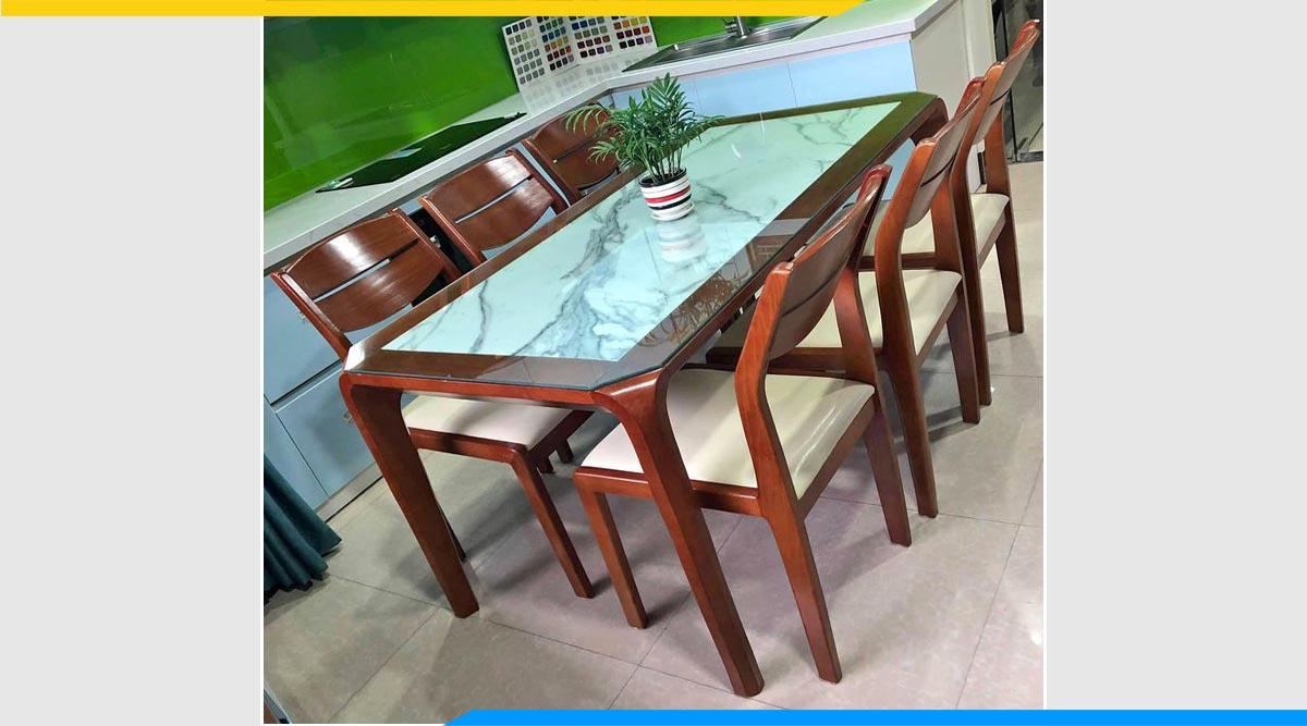 Hình ảnh Bộ bàn ăn gỗ xoan đào 6 ghế mặt đá cao cấp