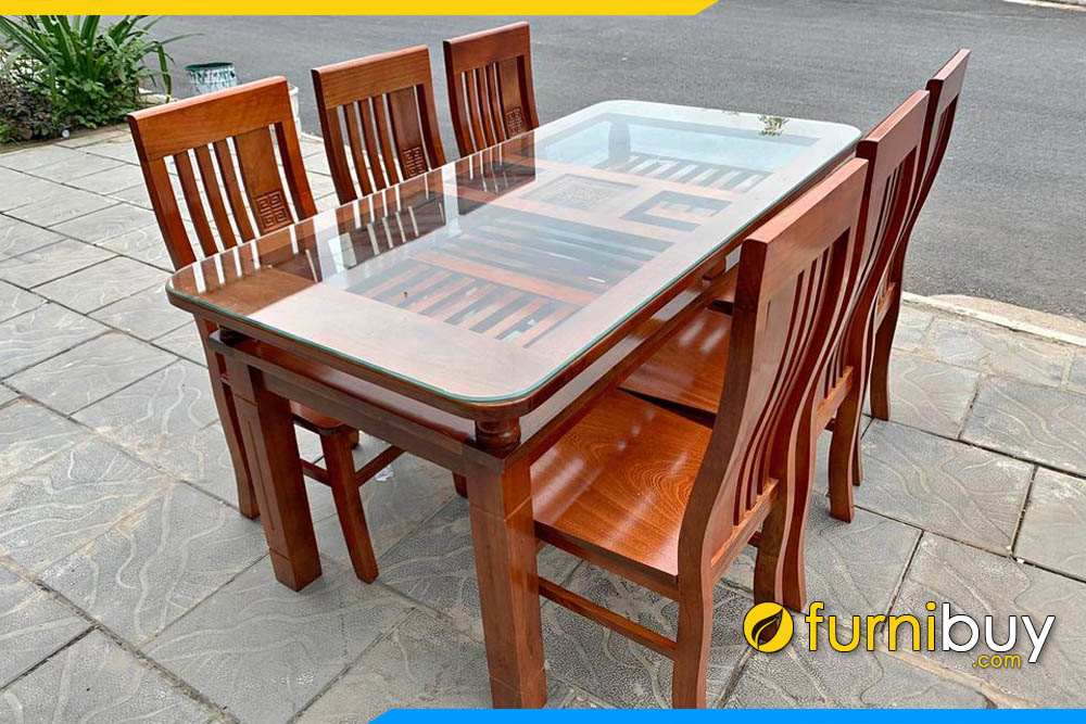 Hình ảnh Bộ bàn ăn gỗ xoan đào 6 ghế mặt kính giá rẻ