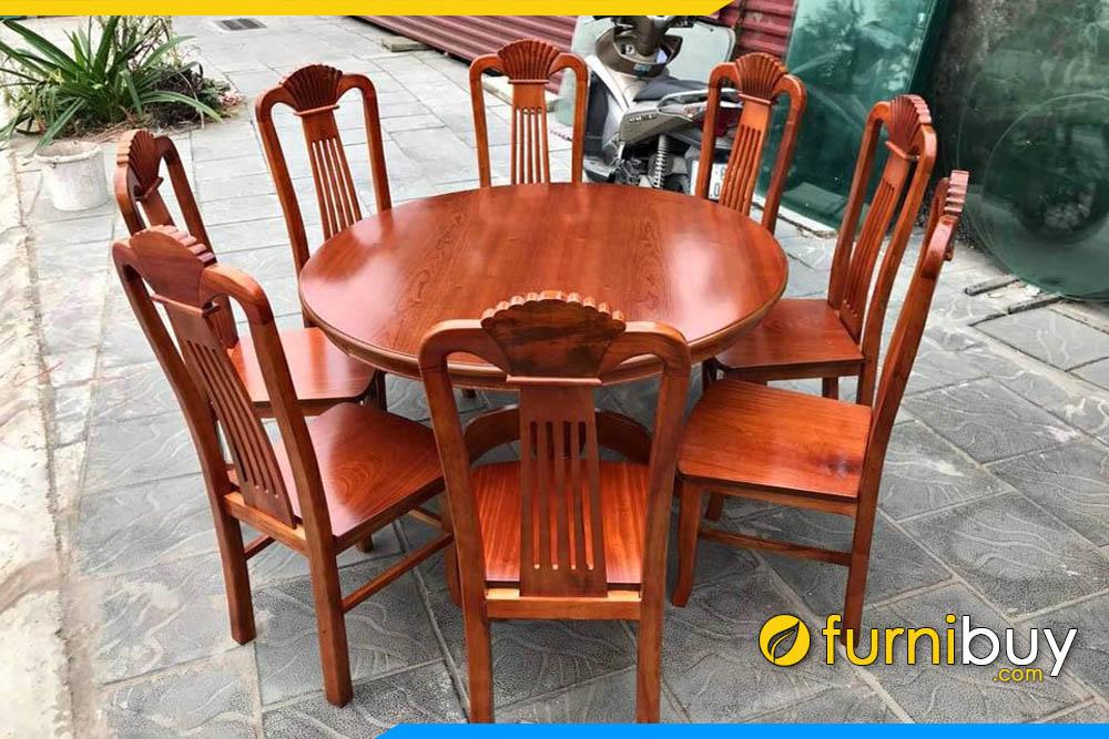 Hình ảnh Bộ bàn ăn gỗ xoan đào 8 ghế hình tròn đẹp