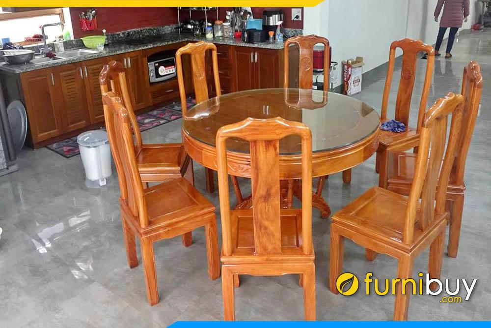 Hình ảnh Bộ bàn ăn gỗ xoan đào đẹp hình tròn
