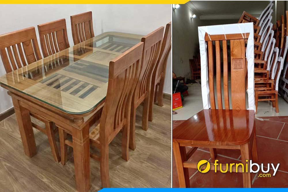 Hình ảnh Bộ bàn ăn gỗ xoan đào thanh lý giá rẻ nên mua không?