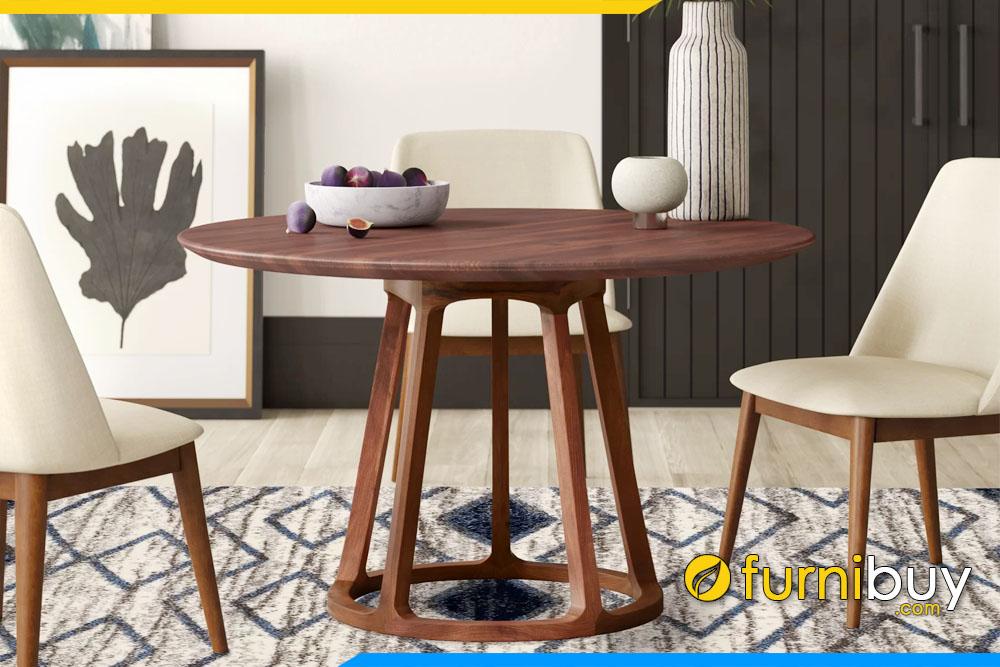 ảnh bộ bàn ăn hình tròn gỗ óc chó giá rẻ dưới 10tr