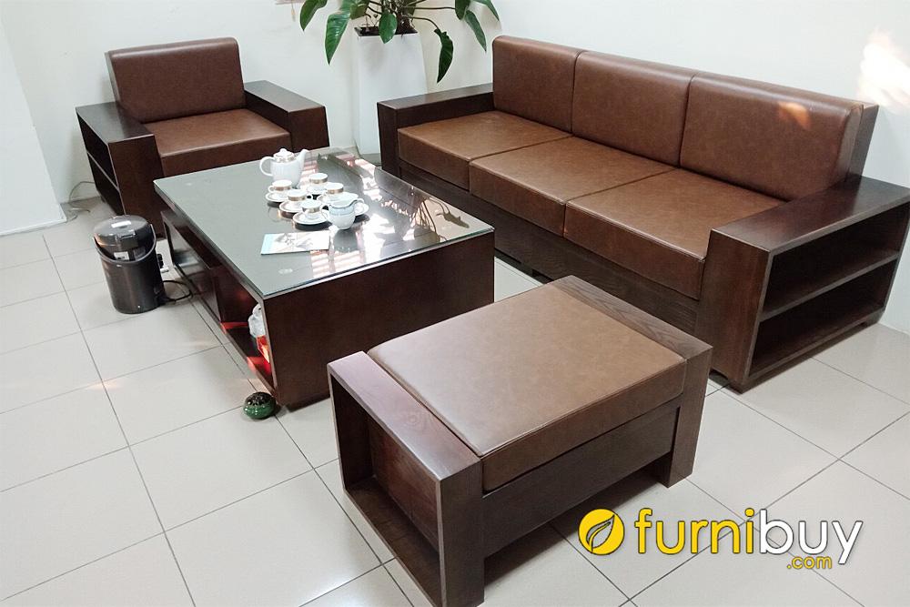 bộ bàn ghế gỗ nệm da sang trọng