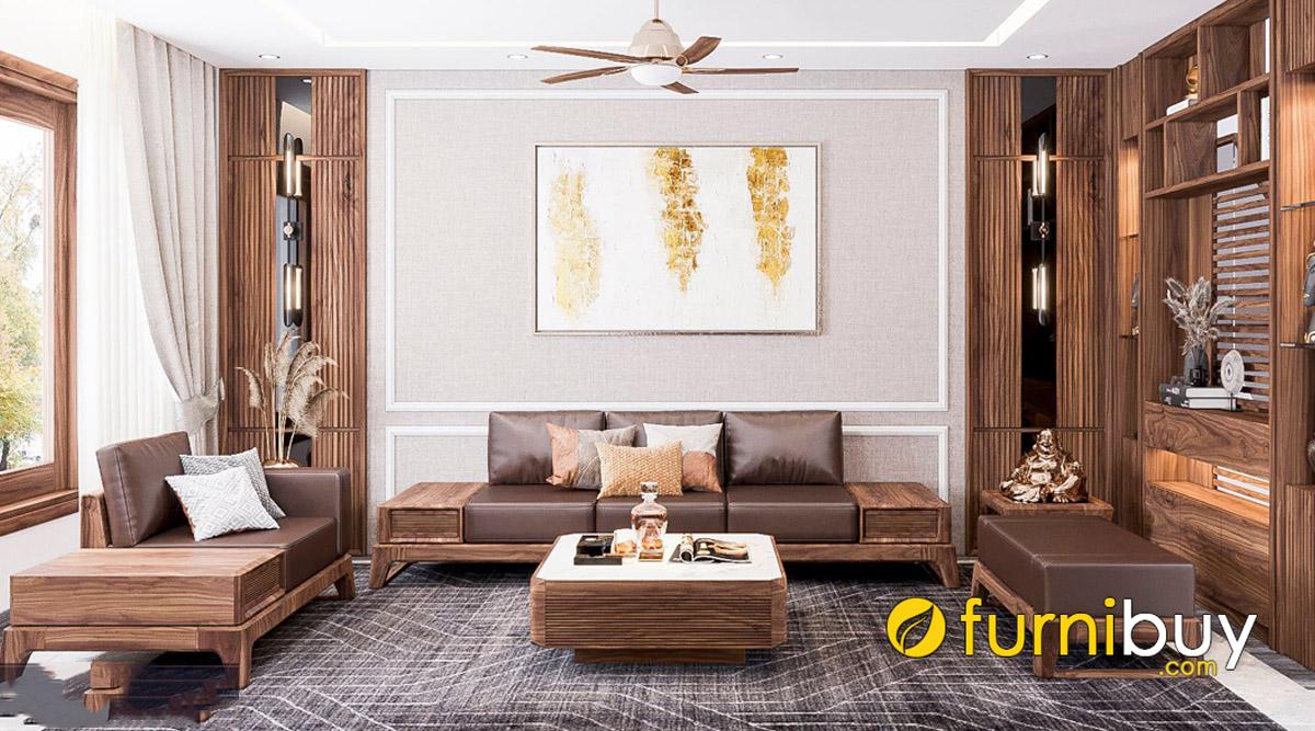 bộ bàn ghế sofa gỗ óc chó dạng văng kê phòng khách rộng