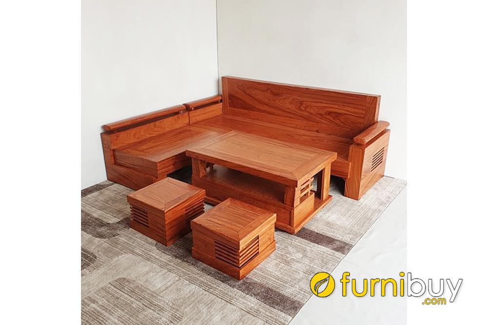 bộ ghế góc chữ L gỗ hương đá nhỏ gọn