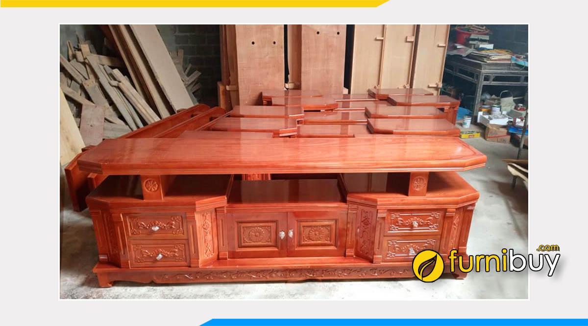 Các mẫu kệ tivi gỗ xoan đào 2m - 2m2 - 2m4 đẹp nhất năm nay