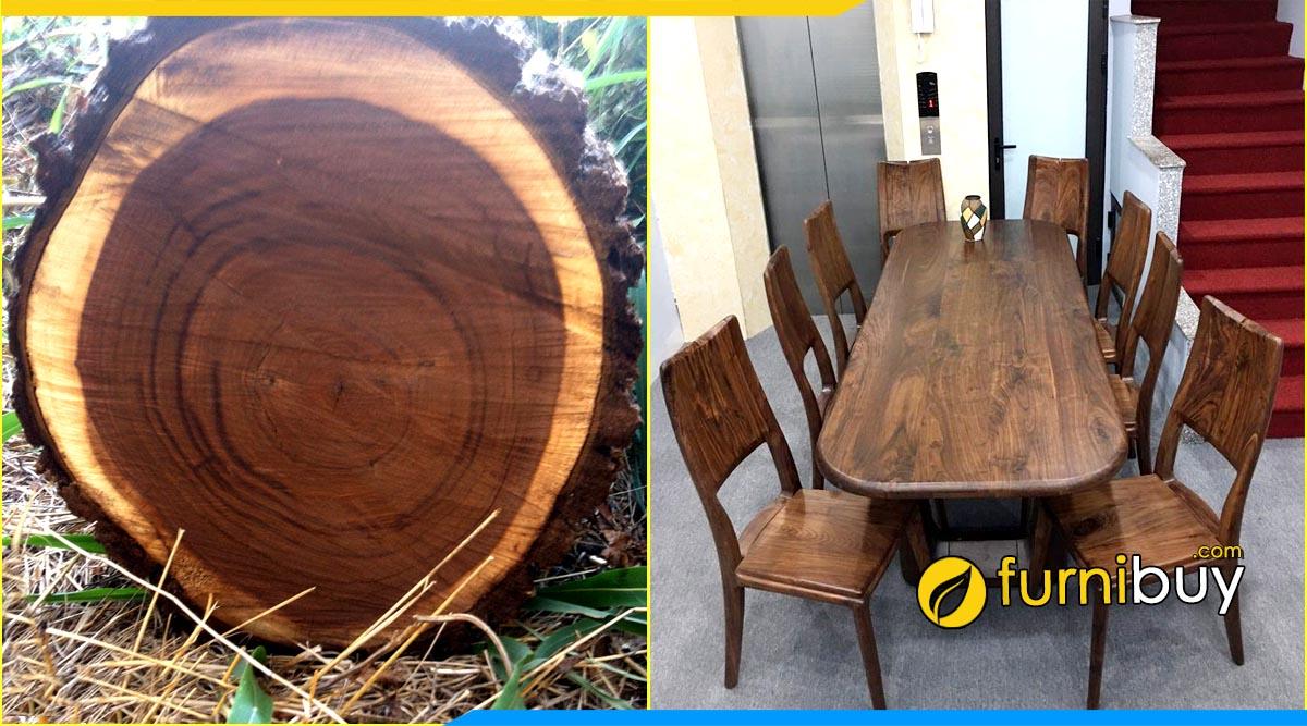 chất liệu gỗ óc chó đóng bàn ghế ăn đẹp