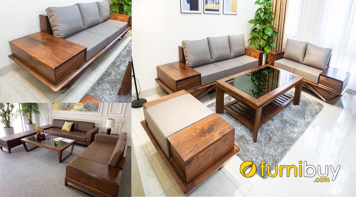 chia sẻ cách chọn sofa gỗ óc chó kê phòng khách đẹp