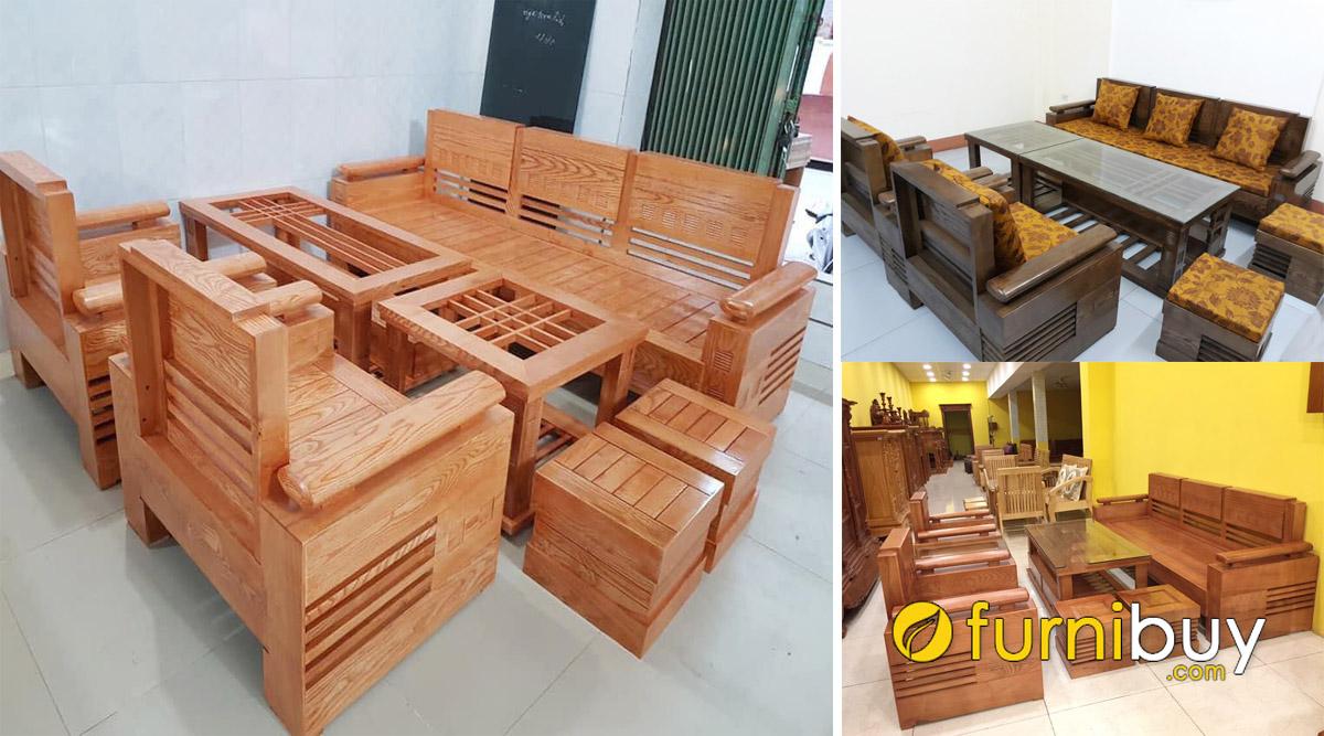 cửa hàng bán sofa gỗ sồi nhiều mẫu đẹp xem chọn