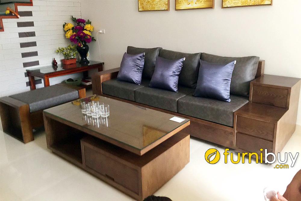 ghế sofa gỗ óc chó dạng văng ngắn kèm đôn đẹp