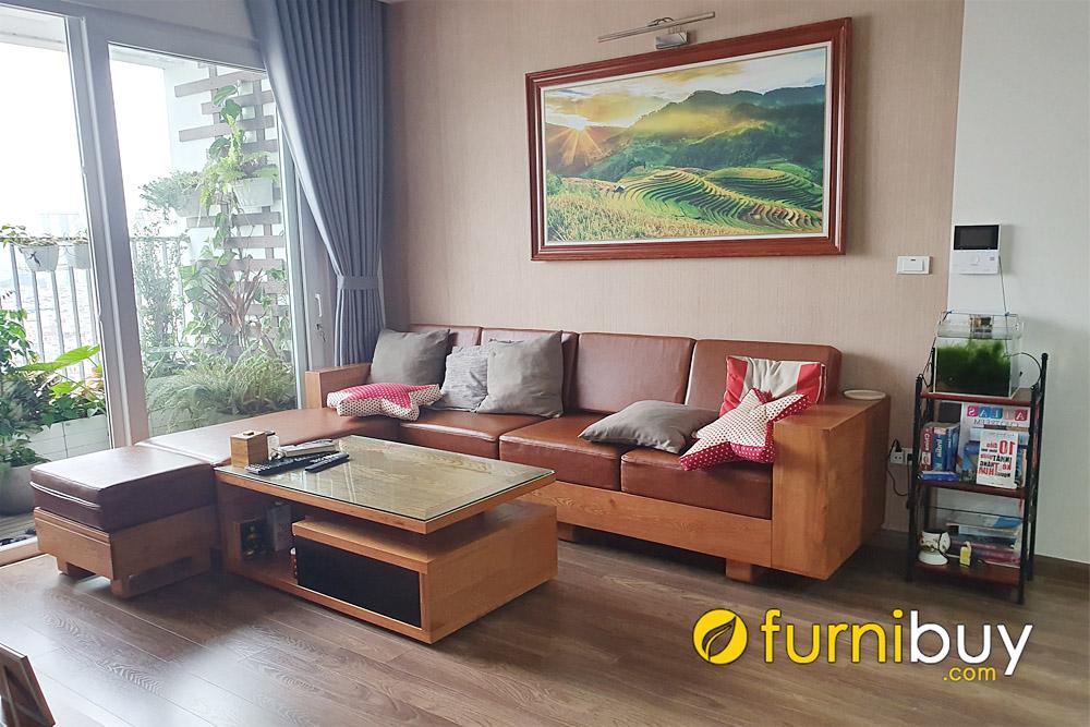 ghế sofa góc gỗ đẹp phòng khách chung cư