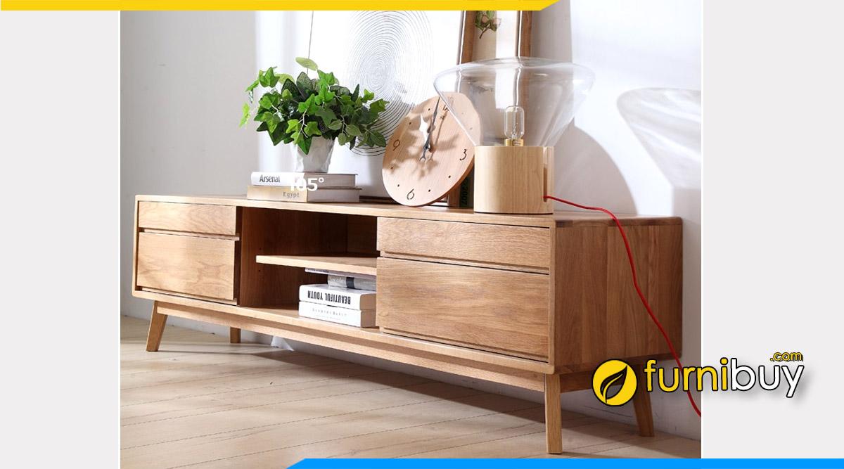 Hình ảnh Mẫu kệ tivi gỗ sồi Nga 2m đẹp hiện đại