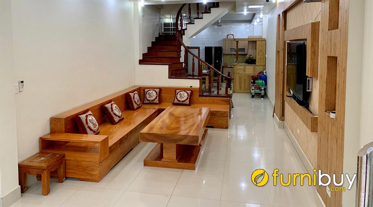kích thước phổ thông bàn ghế sofa gỗ nguyên khối