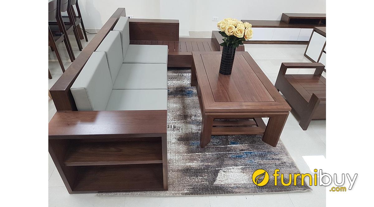 mẫu ghế sofa gỗ óc chó chữ K nhỏ gọn mini